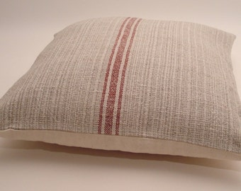 Pillow Cover Grain Sack/ Rustic Beach Cottage Pillow / Nautical Decor / Rustic Farmhouse Style