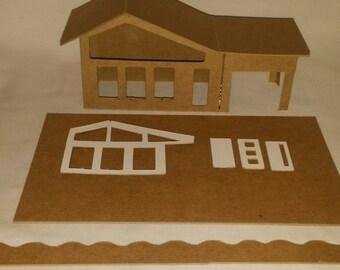Little Village Houses- DIY Cardboard Putz  Style House-  Mid-Cenury Modern House #2