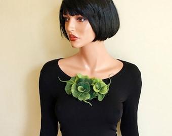 Green  brooch Felted brooch  Fancy flower Green flower  Felt brooch