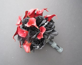 Red Calla Lilies and Black Roses / Wedding Bouquet / Gothic Wedding Bouquet