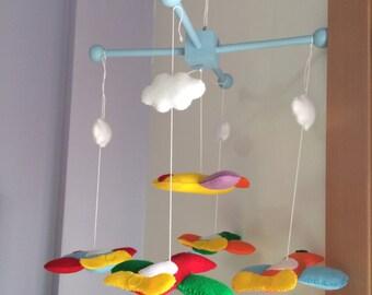 Baby Plane Crib Mobile  - Nursery eco Planes Crib Mobile - Merino wool felt handmade eco friendly mobile - baby and nursery decor - bedroom