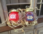 Dollhouse Miniatures - Handmade Gourmet Strawberry & Blueberry Jam in Divided Crate