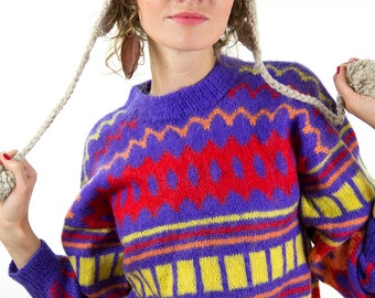 Winter sweater, cute Christmas sweater, colourful jumper, women pullover, S, small, 36