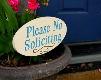 No Soliciting Garden Sign Engraved Wood Plaque With Roman Font Cream and Blue