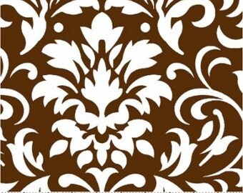 White on Chocolate Damask Fabric --- Damask Fabric --- Fabric By The Yard