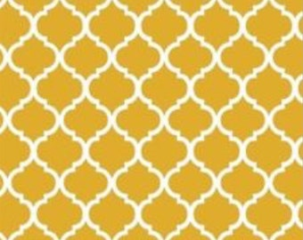 Mini Quatrefoil Fabric ~ Mustard Quatrefoil ~ Fabric By The Yard ~ Moroccan or Geometric Style Fabric