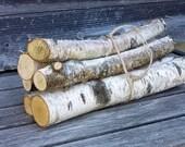 "WHITE BIRCH LOGS - Set of 6 Logs 1"" - 2"" Diameter, 12"" Long -Decorative Wood Mini Logs, Wedding and Holiday Decor, Craft Supply"