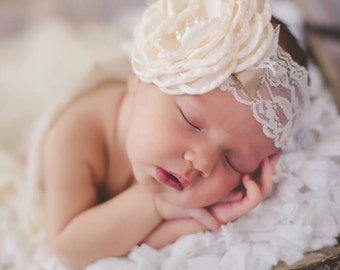 Ivory Wedding headband Vintage couture baby headband, newborn Couture headband , Baby headband, Vintage headband , Girl headband