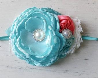 Vintage Aqua ivory coral couture  headband, Couture headband , Baby headband, Vintage headband , Girl headband