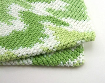 Striped White and Green Double Thick Crochet Pot Holders-----set of 2