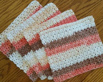 4 Hand Crocheted Cotton Dish Rags in Natural