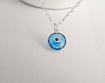 Evil Eye Necklace, Silver Evil Eye Necklace, Silver Necklace, All Seeing Eye, BFF Gifts, British Seller UK, Gifts for Girls, Blue Evil Eye