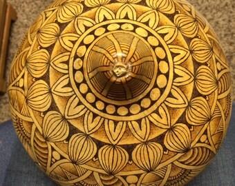 Pyrography Mendhi Gourd