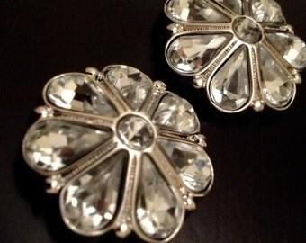 """PAIR Crystal Flower gauges plugs 5/8"""" 3/4"""" 7/8"""" 16mm 19mm 22mm"""