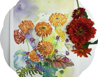 Abstract Zinnia, Fine art print, Watercolor painting