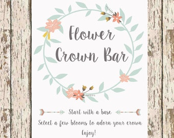 DIY Flower Crown Bar printable 8 x 10 Bridal shower printable bohemian shower flower crown print boho bridal shower flower printable