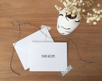 You're Welcome Black and White Stationery Set