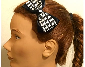 Handmade Black & White Houndstooth Bow Tie Hair Clip