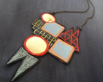 Black Leather Necklace - Geometric Necklace - Statement Necklace - Leather Necklace - Black and Gold Necklace - Bib Necklace