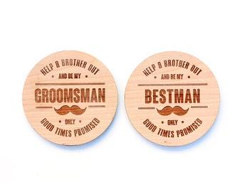 Laser Cut Wood Best Man / Groomsman Coaster