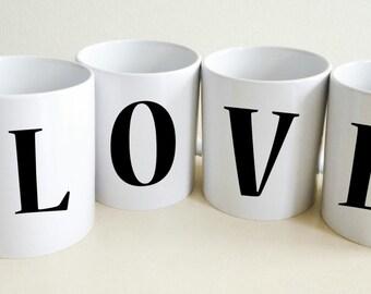 Monogram Mugs LOVE | Love Mug | Gift For Mom | Wife Gift | Custom Gift For Her | Gift for Women | Boyfriend Gift | Coffee Mug | Tea Mug