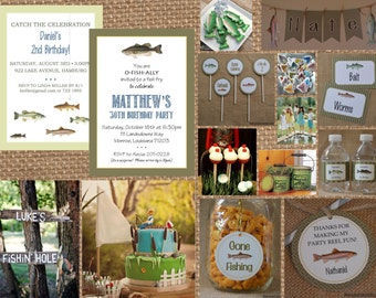 GONE FISHING + Great CATCH // Birthday + Baby + Bridal Shower + Retirement Invitation - Full Service Printing + Coordinating Items Available