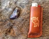 bull moose handmade leather bic lighter case