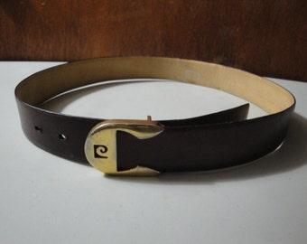 Mens Vintage Pierre Cardin Belt Inital Logo Buckle 34 Belt and Buckle Have Wear