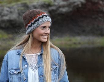 Icelandic wool hat, hand knit, brown, orange, grey, black, happy hats, READY TO SHIP