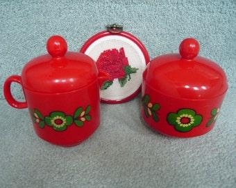 Vintage EMSA Lidded Cream and Sugar Set Tomato Red Circa 1960s West German