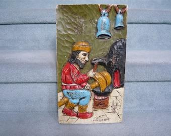 Eastern European FOLK ART Carved Wooden Wall Hanging Circa 1950s