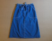 1970's, canvas, A-line, wrap skirt, in cobalt blue, with white stitching, Women's size Medium