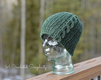 """Crochet Pattern: """"Knit-Look"""" Cabled or Not Beanie, Toddler, Child, Teen/Adult Small, Adult Medium/Large"""