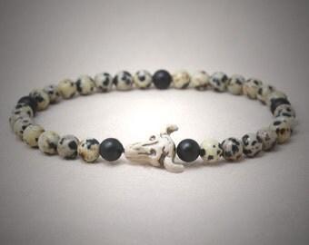 Dalmatiner jasper beads and ceramic cow skull tribal stretch bracelet