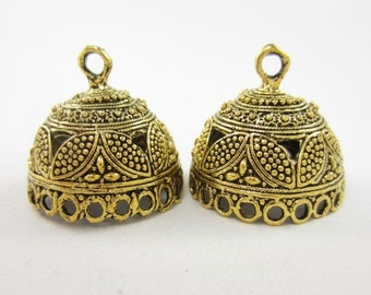 2pcs 24mm-Opening-Round End Cap with 21-Dangling-Holes Highly Textured Gold Plated (F2157)