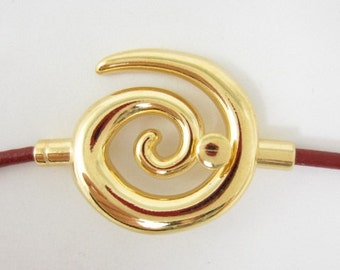2sets 3mm-Hole Glue-In Swirl Clasp Gold Plated (F1882)