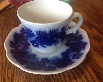 Flow Blue Vinranka Cup & Saucer Sweden