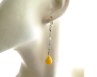 Aragonite Drop Yellow Gemstone Earrings, Long Yellow Earrings, Stone Earrings, Yellow Drop Earrings