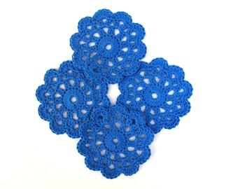 4 handmade beautiful doily blue coasters