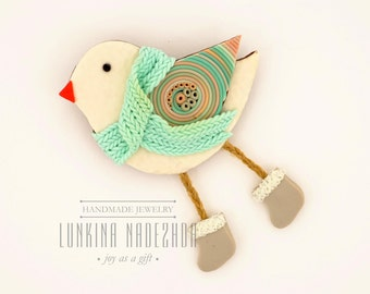 Bird in a mint scarf - polymer clay brooch cute gift for her is ready to ship