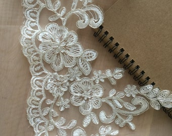 Ivory alencon lace trim with silver thread for bridal veil, wedding gown