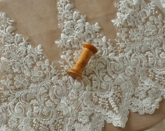 Ivory Beaded Alencon Bridal Mesh Lace trim, Corded Embroidered Floral Motif, Alencon Lace Trim by the yard