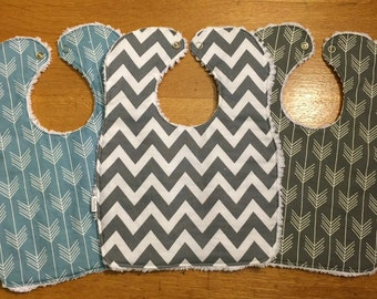 Baby/Toddler Chenille Bibs - Set of 3 - Perfect for Girls and Boys - Greys and Blue