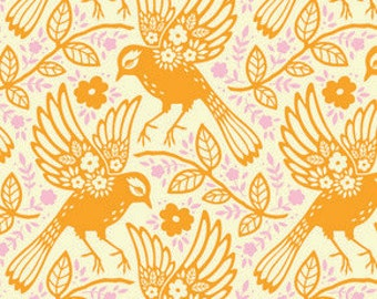 Up Parasol Meadowlark in Tangerine by Heather Bailey for Free Spirit Fabrics HB047- Half Yard or By the Yard