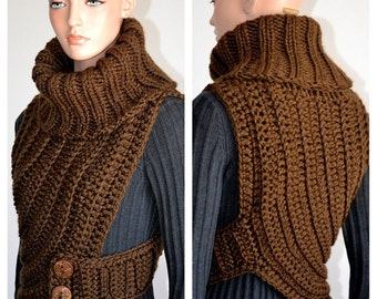 Knitted Crochet Fashion Cowl in Coffee Brown/ Feature Sweater Cowl in Brown