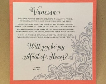 Will You Be My Bridesmaid Card Maid of Honor Wedding Party Ask Bridesmaid Personalized Cards Invite bridesmaid proposal {side design NEW}