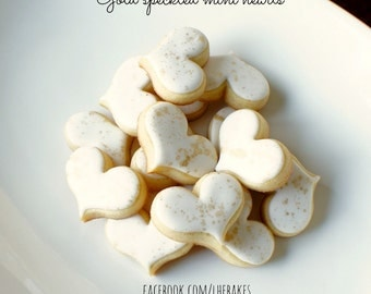 Gold Speckled MINI Heart Sugar Cookies - 2 Dozen for Mother's Day, Bridal Favors