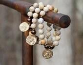 "ZenHappy Stretch ""Ancient Coin - Owl"" Gemstone Meditation Mala Bracelet - Ivory Fossil Jasper Gemstones and Bronze Owl Coin Charm"