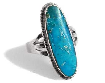 Turquoise Boho Ring 925 Sterling Silver