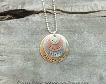 SALE! Personalized Mommy Necklace or Family Necklace - Stacked Mixed Metals - Hand Stamped Jewelry - Layer Necklace - Mom Mother Grandmother